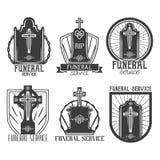 Wektoru usługi pogrzebowe ustaleni logowie Odznaki, emblematy, ikony gravestones w roczniku projektują Odosobniony monochrom royalty ilustracja