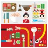 Wektoru ustalonego suszi Japan symbolu karmowa ręka i ręka royalty ilustracja
