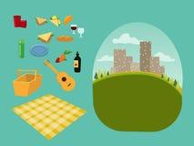 Wektoru ustalony konstruktor dla pinkinu dla rodziny i romantycznego pinkinu w parku, rozprzestrzenia out koc, kosz jedzenie, lat ilustracja wektor