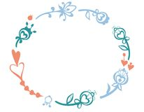 Wektoru wianku ramowi kwiaty Zdjęcia Royalty Free