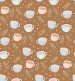 Wektoru wzór herbaciani i kawowi kubki z roślina elementami Ilustracja na brown tle ilustracji
