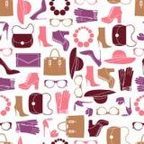 Wektoru wzór moda przedmioty i modni akcesoria Obrazy Royalty Free