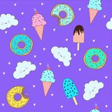 Wektoru wzór z ślicznymi donuts i lody ilustracja wektor