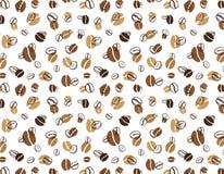 Wektoru wzór z białymi kawowymi fasolami na białym tle Obraz Royalty Free