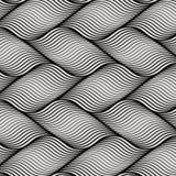 Wektoru wzór z geometrycznymi fala na horyzoncie Niekończący się elegancka tekstura Czochra monochromu tło ilustracji