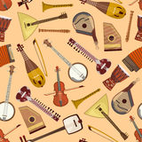 Wektoru wzór z instrumentami muzycznymi Zdjęcie Stock