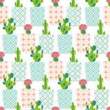 Wektoru wzór z kaktusem Obrazy Royalty Free