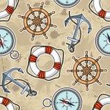 Wektoru wzór z kotwicami, lifebuoies, statków koła, kompasy Obrazy Stock