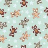 Wektoru wzór z kreskówek gwiazdami i niedźwiedziami Zdjęcie Royalty Free