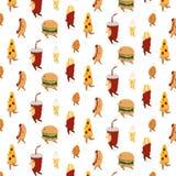 wektoru wzór z pizzą, hamburger, francuz smaży, pieczony kurczak, lody, hotdog, sodowany napój szczotkarski węgiel drzewny rysune Obraz Royalty Free