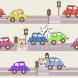 Wektoru wzór z samochodami i ruchem drogowym Fotografia Royalty Free