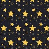Wektoru wzoru ornament z gwiazdami na nocnym niebie Wiele gwiazdy Wzór z gwiazdami Symbolu ornament Kolor żółty gwiazdy na zmroku royalty ilustracja