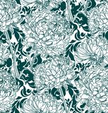 Wektoru wzoru roślina graweruje atramentu chrythantemum nakreślenie ilustracja wektor