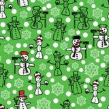 Wektoru zielony biały bałwan i boże narodzenie wzór ilustracja wektor