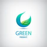 Wektoru zielony liść, natura, organicznie ikona, okręgu logo Zdjęcia Royalty Free