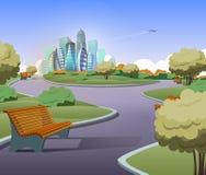 Wektoru zielony parkland z drzewami w mieście ilustracji
