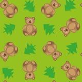 Wektoru zielony tło z niedźwiedziami i jedlinowymi drzewami ilustracji