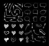 Wektory Kreślący projektów elementy Ustawiający Odizolowywającymi na Czarnym tle, Białe linie, kreda royalty ilustracja
