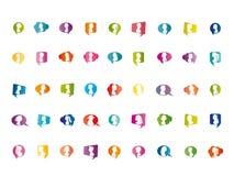 Wektory odizolowywający ikony mowy bąbla opowiadać ustaleni kolorowi ludzie Tłum chmura Komunikuje ogólnospołeczną sieć ilustracji