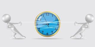 Wektory rysujący ludzie symboli/lów, zażarta rywalizacja zegar są w środku ilustracja wektor