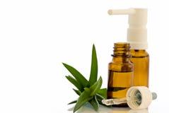 Wekzeugspritzen-Tropfen und Spray mit Aloe lizenzfreie stockbilder
