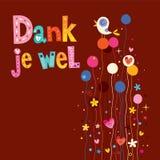 Wel húmedo del je - gracias en tarjeta de felicitación holandesa stock de ilustración