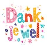 Wel húmedo del je - gracias en tarjeta de letras de tipo holandés stock de ilustración