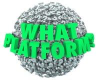 Welche Plattform-Fragen-Mark Words Sphere Choose Right-Software stock abbildung
