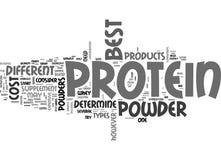 Welches die beste Protein-Pulver-Wort-Wolke ist lizenzfreie abbildung