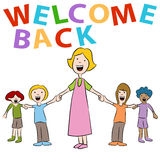 Welcom Back Teacher Students Stock Photography