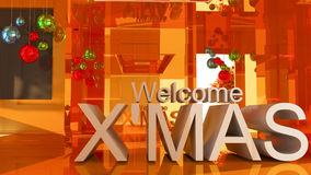 Welcom to merry Christmas 3D text. On Gold empty room background Royalty Free Stock Image