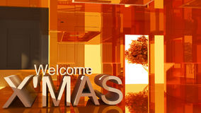Welcom to merry Christmas 3D text. On Gold empty room background Royalty Free Stock Photos