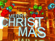 Welcom to merry Christmas 3D text. On Gold empty room background Stock Photography