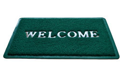 Welcome. Rubber doormat printed with welcome decoration Stock Photos