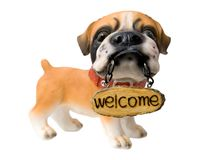 Welcome. Dog figure with tablet Stock Photography