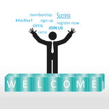 Welcome. Person welcome new members group, abstract background Royalty Free Stock Photos