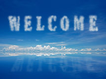 Welcome. Word from clouds with rective blue sky Royalty Free Stock Images