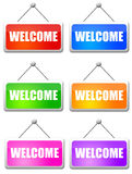 Welcome. Isolated welcome signs in several colors Royalty Free Stock Photo