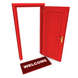 Welcome. Open door of opportunity with welcome doormat in red. hospitality and business venture concept Stock Image