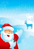 Welcome!. Vector illustration of Santa Claus, with mobile phone, on the distant plan - deers Stock Image