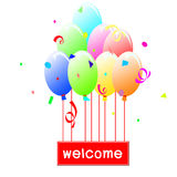 Welcome. Sign hanging on balloons announcing welcome Royalty Free Stock Photos