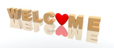 Welcome. A 3d rendering of the word welcome Royalty Free Stock Photos