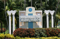 Welcome. Miami beach welcoming sign Royalty Free Stock Images