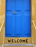 Welcome. Painted on the step of a house Stock Photo