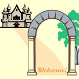 Welcome!. Welcoming a guest, invite visitors to the home Stock Photography