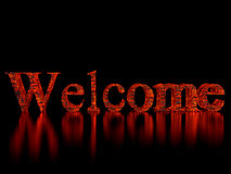 Welcome. High resolution image logo welcome. 3d illustration over  black backgrounds Stock Photography