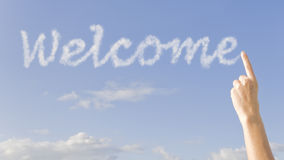 Welcome. The word welcome spelled out in the sky Royalty Free Stock Photos