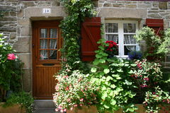 Welcome. Entrance of a small house in Brittany, France Stock Photo