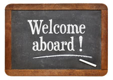 Welcome aboard blackboard sign Stock Images