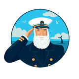 Welcome aboard. Old bearded captain with a cap. Vector illustration with a sea on the background Stock Photo
